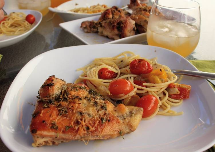 Easy Italian Dressing Roast Chicken & Fresh Tomato Sauce