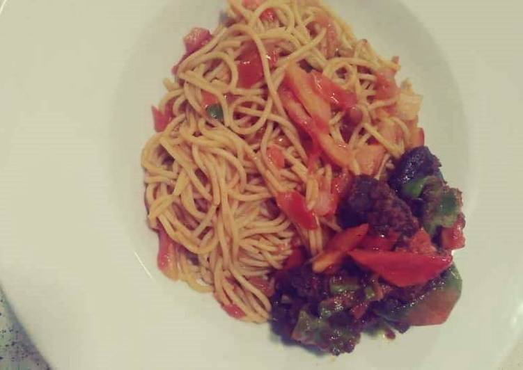 Spagetti with peppered meat