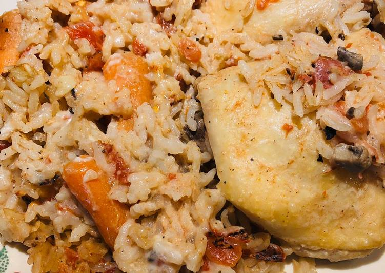 Chicken, Carrot and Rice Bake
