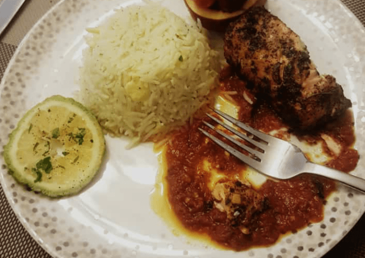 Curry rice with pepper sauce and grilled chicken