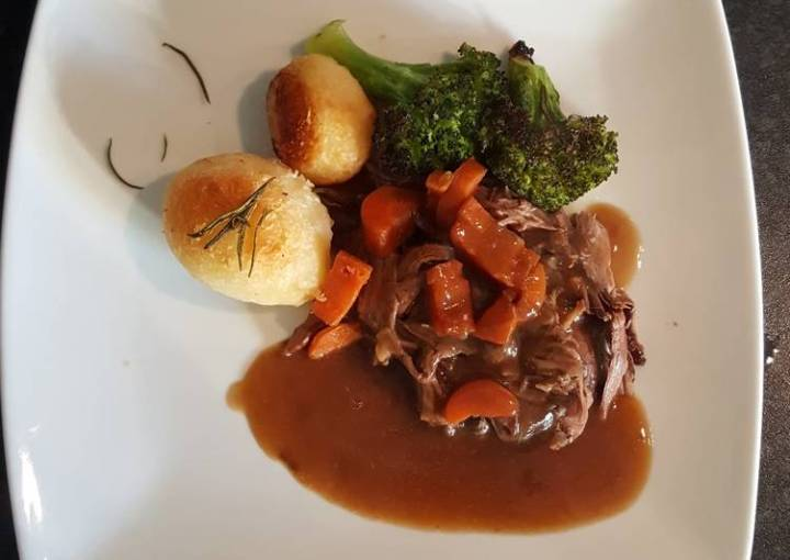 Slow Cooked Shredded Beef. Roast Spuds and Roasted Broccoli