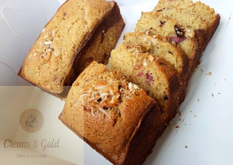Butterscotch & strawberry nutty fruit cake loaf