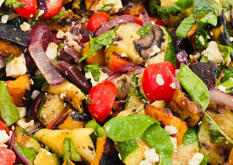 Grilled Vegetable Salad with Roasted Butternut Squash, and a Fresh Herb Lemon Dressing