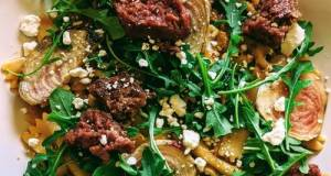 Farfalle With Tomato Pesto Cream, Beets, Aragula, Beyond Meat