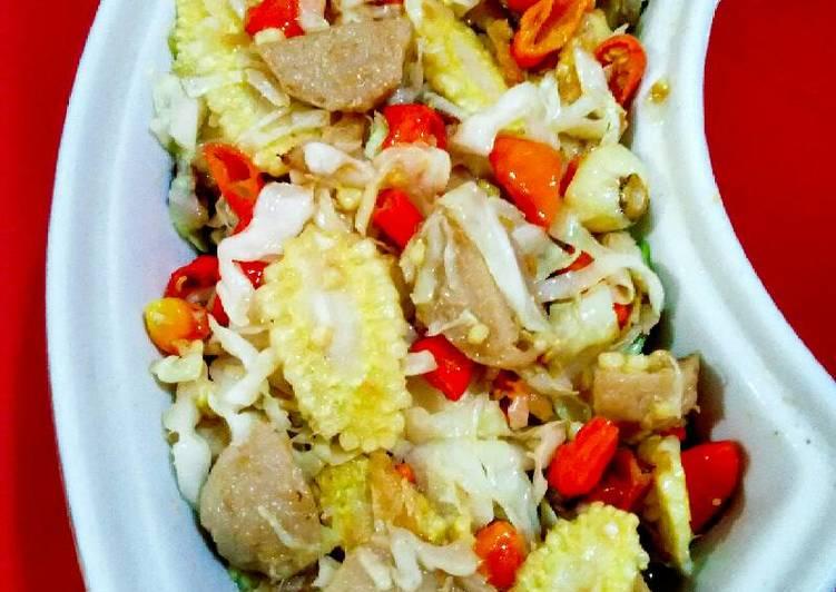 Oseng bakso&ikan asin(pedessssss)