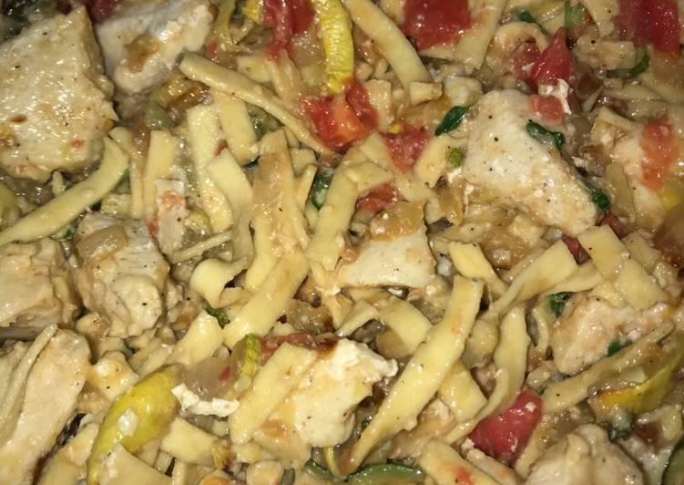 Veggie garden Parmesan chicken and pasta
