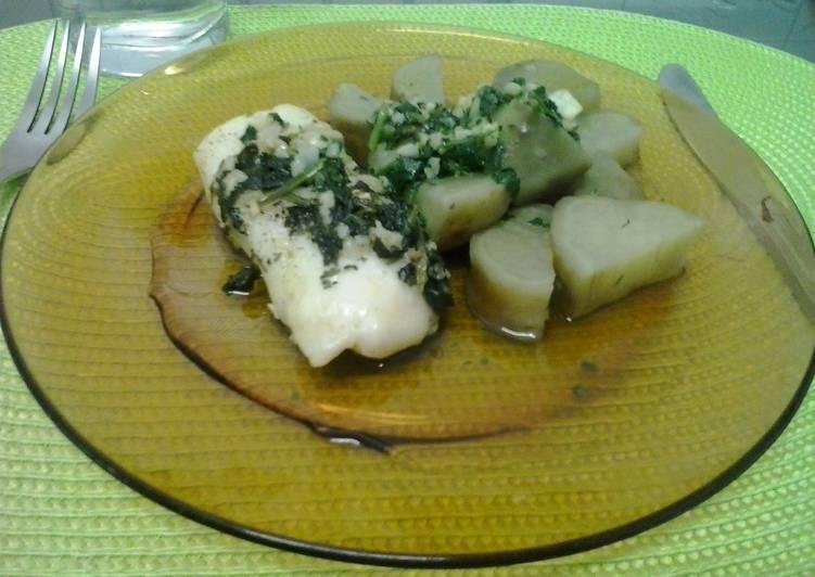 Curlpaper hake and sweet potato