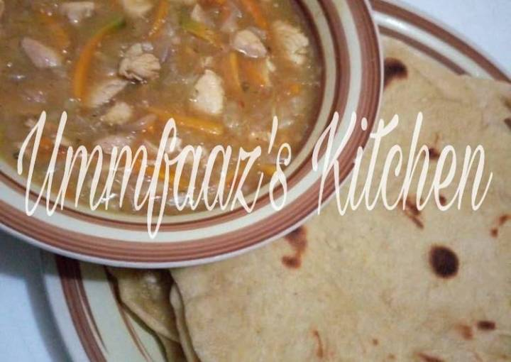 Roti and veggie soup