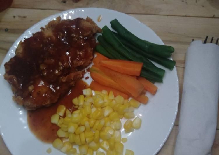 Chicken Steak Saos Lada hitam