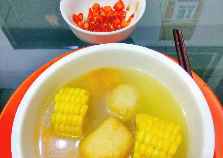 Sup jagung manis,labu,bakso2 an