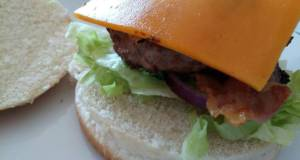 Pork and Apple burger with Cheddar and mustard mayo