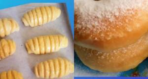 Roti pisang dan donat dalam 1 adonan