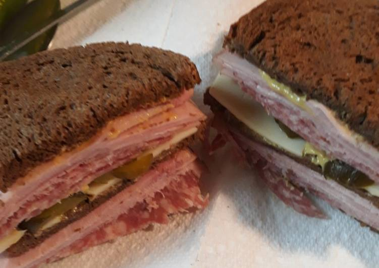 Salami Swiss and Ham on Rye
