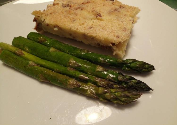 Potato pie, with pancetta & chanterelle mushrooms & asparagus