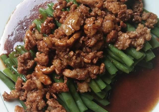Buncis daging cincang saus tiram
