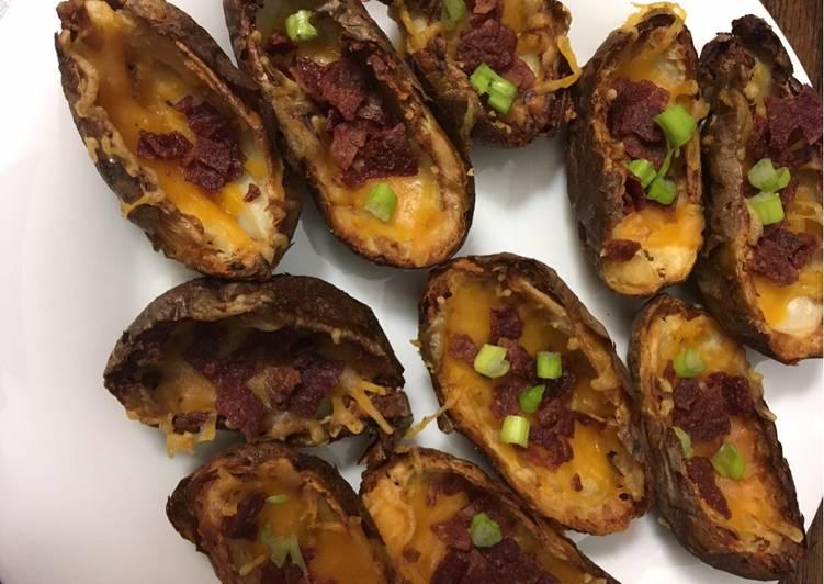 Air fried potato skins