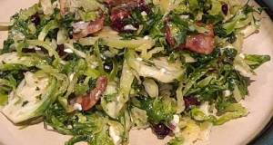 Brussel Sprout Salad With Bacon And Blue Cheese