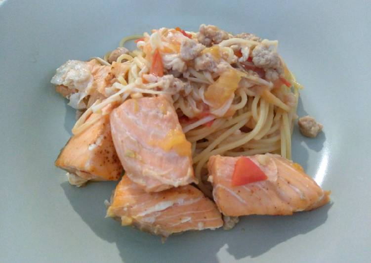 三文鱼优格天使面 Salmon Yogurt Angel Hair Pasta
