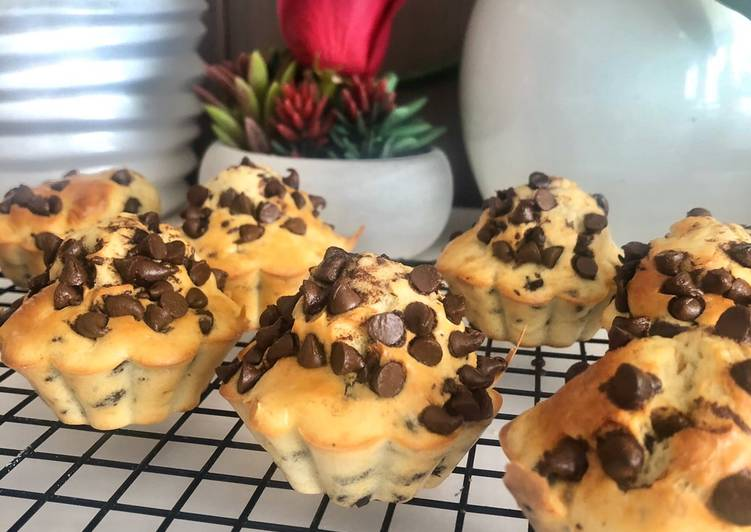 Muffins pépites de chocolat sans beurre et sans sucre