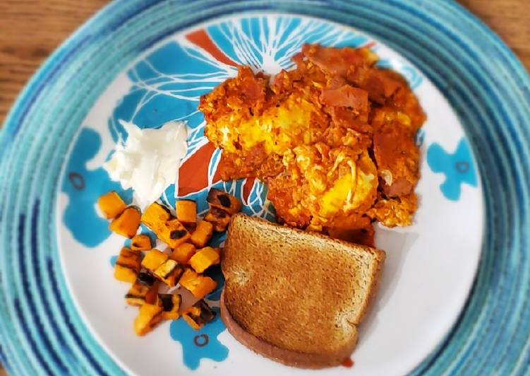 Marinara poached eggs with sweet potatoes