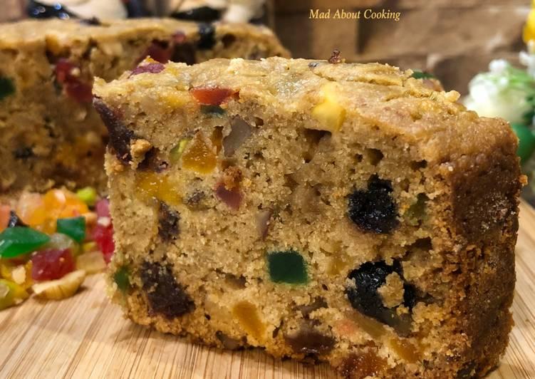 Eggless Whole Wheat Jaggery Fruit Cake – Super Healthy Christmas Treat