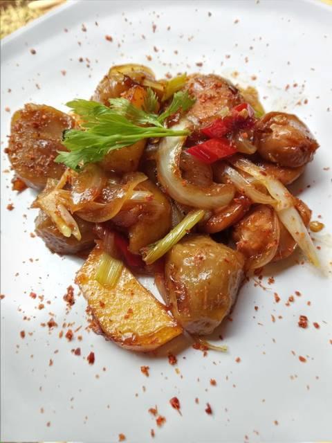 Cara Membuat Tangsis Kentang Sosis : membuat, tangsis, kentang, sosis, Resep, Tangsis, Bakso, Balado, Remas.nu
