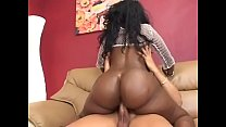 Big booty black pornstar Beauty Dior is riding white cock and getting jizz on her ass