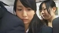 Groping Asian girl in a bus