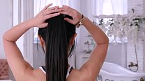 Japanese teen Marica Hase gets horny during bath time and gives a sloppy deepthroat blowjob