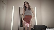 Russian Katya Clover masturbates hard in a stockings shop