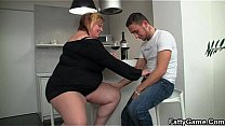 Huge BBW fucked by skinny guy in kitchen