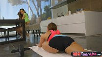 Stepmom yoga makes teen girl all horny and they go lez