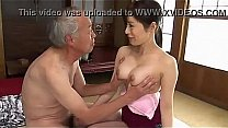 Old man gets to enjoy japanese milfs titties