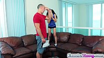 College babe Sally Squirt rides a gaint dick