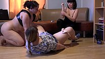 Three plump lesbians with beautiful booty love perverted sex, anilingus, cunnilingus and fisting in big pussy.