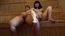 Russian lesbians with hairy pussies masturbate in the sauna, bbw with their beloved girlfriend.