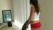 Angela vacuuming fun with barely any clothes