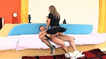 Uniformed sex in stockings a garter and heels