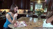 StepSiblings licking fingering pussies in the kitchen