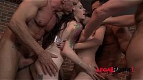 Anna De Ville & Rebecca Volpetti lick & fist each others ass and fuck with 3 guys SZ1414