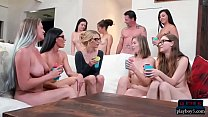 Married couple from nudist swingers club with a teen