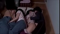 Asian cousins grope in bed fuck