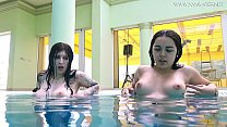 Naked sexy girls in the pool