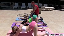 Three 18 yrs old bffs are in their yoga lesson with yoga instructor. Instructor starts teaching them proper yoga. Then they notice that their yoga instructor is pervert. They pull out his dick and suck it before letting him fuck their pussy.