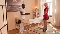 Interracial hardcore action at the massage parlor makes Vittoria Dolce swallow cum