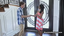 Perky ebony catches pervy neighbor then sucks his hard dick