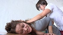 Naughty brunette cutie  Dani Daniels got spanking lesson before she would be allowed to lick Sinn Sage's cunt