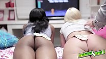 Horny dads trade places and play with each others daughters asses!