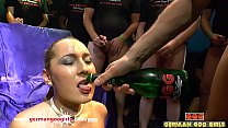 Sexy teenager with a pretty face gets her tight pussy pounded hardcore in a huge bukkake gangbang! German Goo Girls