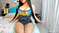 Super Hot Latina Camgirl Cosplay BatGirl strip blowjob deepthroat